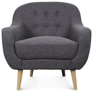 Demeure et Jardin - fauteuil crapaud gris style scandinave bois brut b - Fauteuil