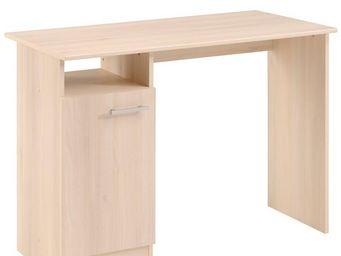 WHITE LABEL - bureau 1 porte acacia clair - nity - l 100 x l 49  - Bureau