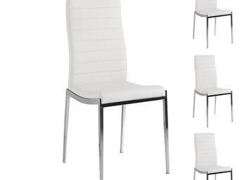 WHITE LABEL - quatuor de chaises eco-cuir blanc - vilma - l 53 x - Chaise