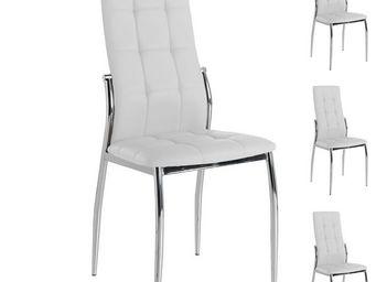 WHITE LABEL - quatuor de chaises eco-cuir blanc - calas - l 42 x - Chaise