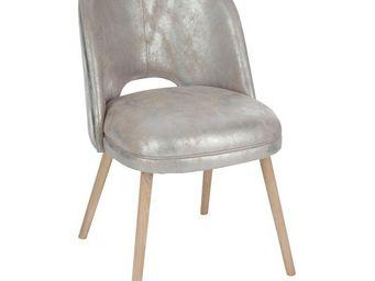 WHITE LABEL - chaise en cuir argent - sliver - l 49 x l 59 x h 7 - Chaise