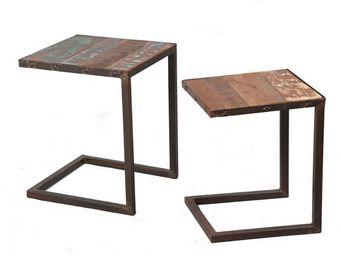 WHITE LABEL - tables gigognes - bric - l 40 x l 40 x h 50 - bois - Tables Gigognes