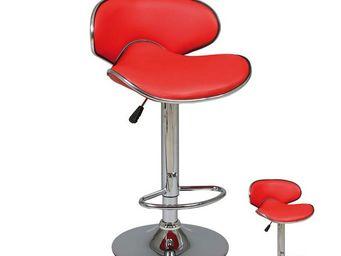 TOUSMESMEUBLES - duo de tabourets de bar rouge - florance - l 45 x  - Chaise Haute De Bar