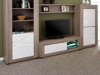 WHITE LABEL - composition tv - swim - l 337 x l 157 x h 200 - bo - Meuble Tv Hi Fi