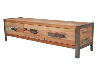 WHITE LABEL - meuble tv 3 tiroirs - fabrik - l 150 x l 40 x h 40 - Meuble Tv Hi Fi