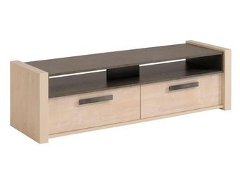 WHITE LABEL - meuble tv pin cendré/béton ciré - willy - l 150 x  - Meuble Tv Hi Fi