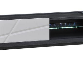 WHITE LABEL - meuble tv 1 porte - stripe - l 150 x l 50 x h 45 - - Meuble Tv Hi Fi