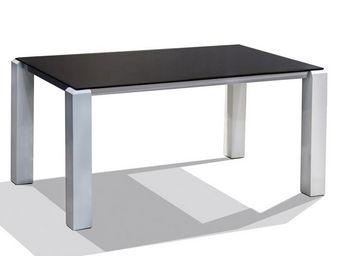 WHITE LABEL - table de repas blanc/noir - durango - l 150 x l 93 - Table De Repas Rectangulaire