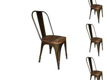 WHITE LABEL - quatuor de chaises - broc - l 40 x l 39 x h 92 - m - Chaise