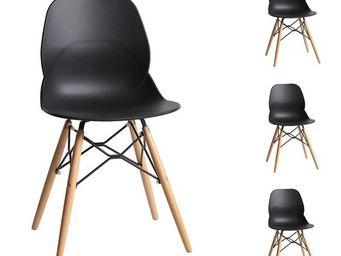 TOUSMESMEUBLES - quatuor de chaises noires - buri - l 51 x l 46 x h - Chaise