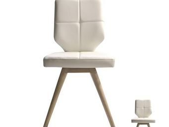 WHITE LABEL - duo de chaises simili cuir blanc - dakar - l 46 x  - Chaise