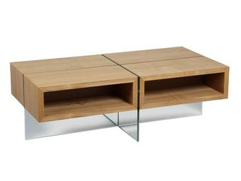 WHITE LABEL - table basse verre et bois - zorg n°1 - l 120 x l 6 - Table Basse Rectangulaire