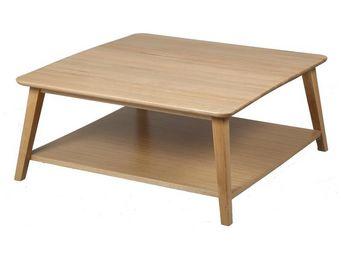 WHITE LABEL - table basse - quinta - l 90 x l 90 x h 40 - bois - Table Basse Carrée