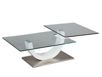 WHITE LABEL - table basse en verre socle en métal - evo - l 87 x - Table Basse Carrée