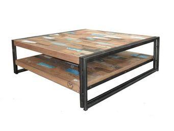 WHITE LABEL - table basse en bois carrée 100 cm - industry - l 1 - Table Basse Carrée
