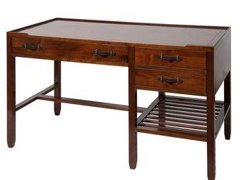 WHITE LABEL - bureau en bois - magellan - l 135 x l 65 x h 80 -  - Bureau