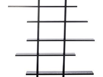 WHITE LABEL - bibliothèque bois noir - zigzag - l 115 x l 14 x h - Etagère