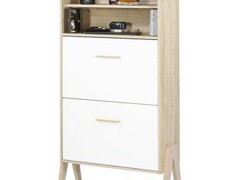 WHITE LABEL - meuble à chaussures à rideau - arkos n°7 - l 80 x  - Meuble À Chaussures