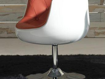 WHITE LABEL - fauteuil simili cuir rouge - zola - l x 66 x l 65  - Fauteuil Rotatif