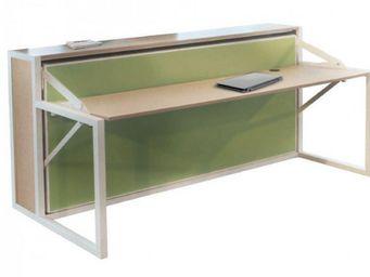 WHITE LABEL - armoire lit transversale bdesk structure chêne faç - Lit Escamotable