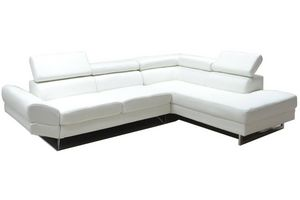 WHITE LABEL - canapé d'angle droite fixe venise cuir éco blanc - Canapé Modulable