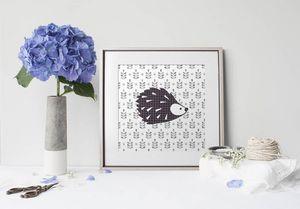 la Magie dans l'Image - print art grand hérisson noir - Estampe