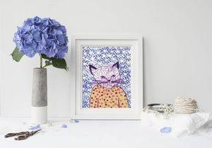 la Magie dans l'Image - print art mon petit chat fond bleu - Poster