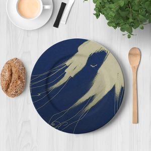 la Magie dans l'Image - assiette de loin bleue - Assiette De Présentation