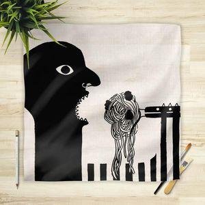la Magie dans l'Image - foulard spaghetti noir et blanc - Foulard Carré