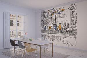 la Magie dans l'Image - grande fresque murale canal st martin - Papier Peint Panoramique