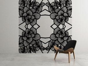 la Magie dans l'Image - grande fresque murale graphic flowers white - Papier Peint Panoramique
