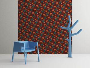 la Magie dans l'Image - grande fresque murale petits coeurs orange - Papier Peint Panoramique