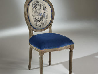 robin des bois - 2 chaises médaillon en velours bleu indigo - Chaise Médaillon