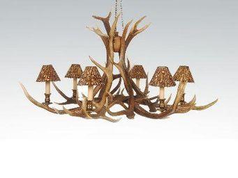 Clock House Furniture - chandelier - 6 arm red deer - Lustre