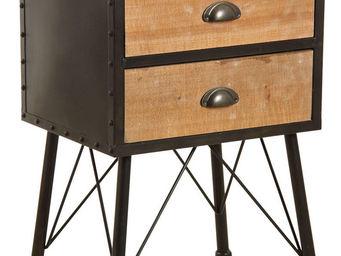 Aubry-Gaspard - table de nuit 2 tiroirs en métal et bois - Table De Chevet