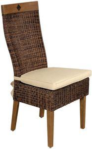Aubry-Gaspard - chaise en rotin et teck avec coussin - Chaise