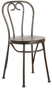 Aubry-Gaspard - chaise en métal noir vieilli - Chaise