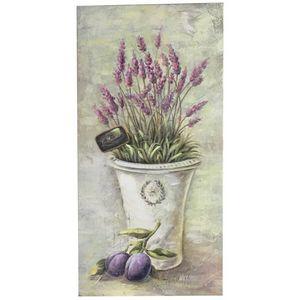 CHEMIN DE CAMPAGNE - tableau cadre en bois peint fleur mural lavande 60 - Tableau Décoratif