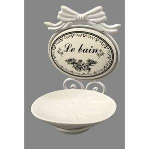 CHEMIN DE CAMPAGNE - porte savon de salle de bain blanc mural fer et cé - Porte Savon À Poser