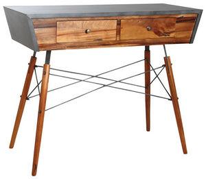 AUBRY GASPARD - console en bois de suar massif et métal - Console
