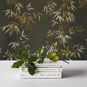 ISIDORE LEROY - bambous vert doré - Tapisserie