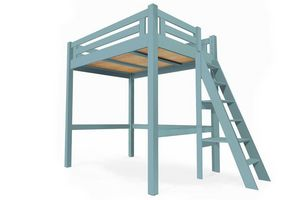 ABC MEUBLES - abc meubles - lit mezzanine alpage bois + échelle hauteur réglable bleu pastel 160x200 - Autres Divers Mobilier Lit