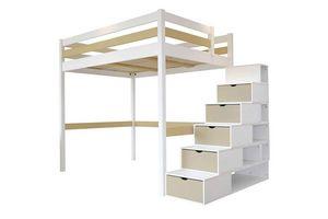 ABC MEUBLES - abc meubles - lit mezzanine sylvia avec escalier cube bois 160x200 blanc/moka - Lit Mezzanine