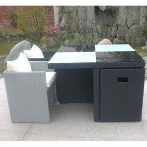 LE RÊVE CHEZ VOUS - salon de jardin table résine tressée avec 4 fauteu - Salon De Jardin