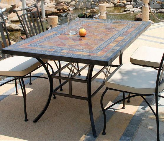Table en ardoise (pieds fer forgé) ERABLE - Table de jardin ...