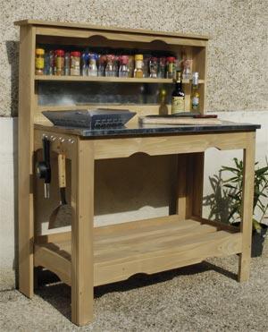 Table plancha en bois et zinc 102x120x50cm cuisine d - Meuble pour plancha exterieur ...
