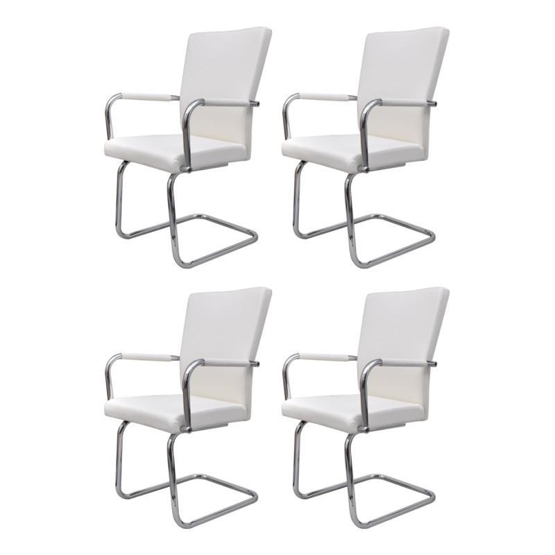 4 chaises de salle manger blanche chaise white label - Chaise de salle a manger blanche ...