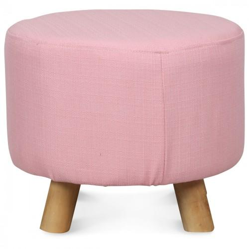 petit tabouret rond en bois de style scandinave pouf rose. Black Bedroom Furniture Sets. Home Design Ideas