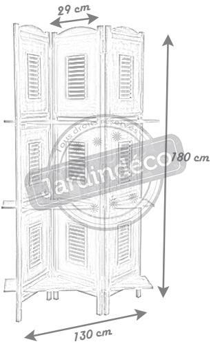 paravent avec tag res en bois vieilli paravent aubry gaspard. Black Bedroom Furniture Sets. Home Design Ideas