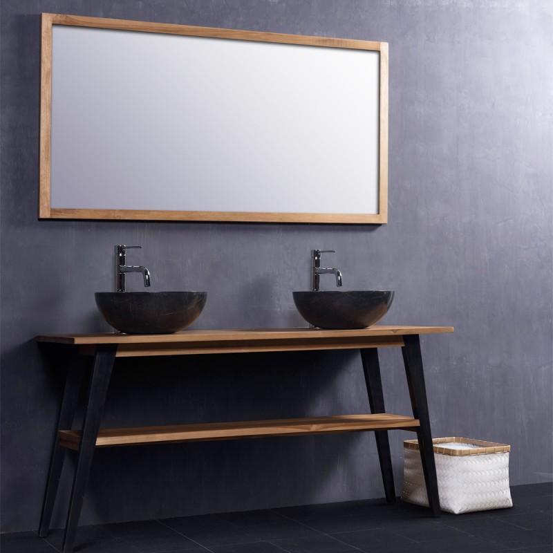 Ensemble de salle de bain en bois de teck meuble miroir de salle de bains teck bois - Ensemble salle de bain bois ...